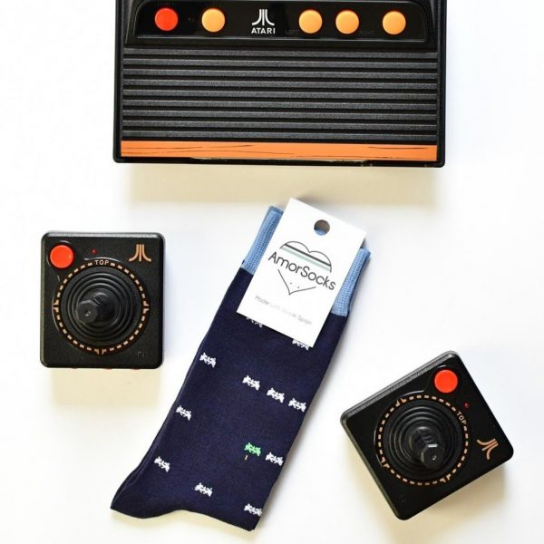 AmorSocks-calcetines-socks-marcianitos-arcade-space-invaders-atari-azul-marino-blanco-verde-pack