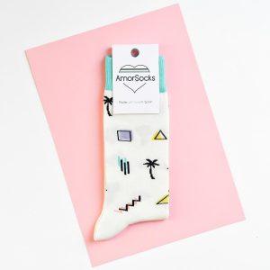 amorsocks-calcetines-socks-miami-palm-crema-verde-agua-palmeras-90s-geometricos-palm-beach