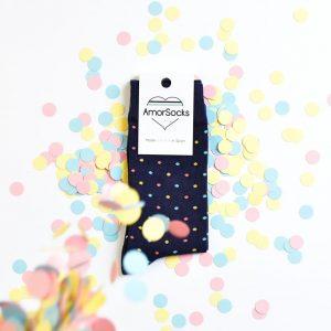 amorsocks-calcetines-socks-lunares-topos-azul-marino-blue-navy-rosa-pink-amarillo-yellow