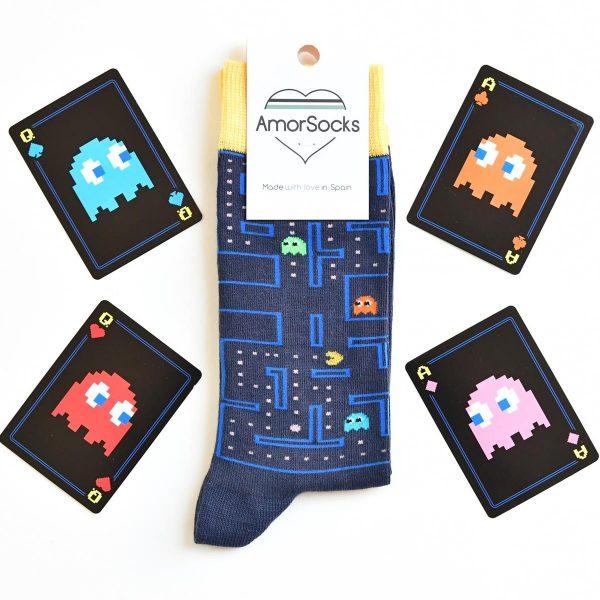 amorsocks-calcetines-socks-comecocos-pacman-arcade-80s-navy-azul-marino-amarillo-namco-2020-cuadrada