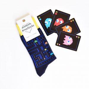 amorsocks-calcetines-socks-comecocos-pacman-arcade-80s-navy-azul-marino-amarillo-namco
