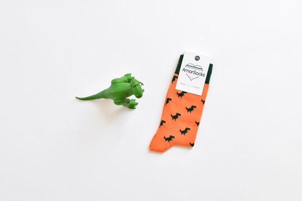 amorsocks-calcetines-socks-dinos-dinosaurios-trex-tiranoraurio-coral