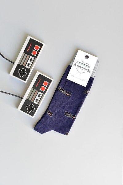 AmorSocks-calcetines-socks-mandos-nintendo-nes-minines-nintendomini-retro-80s-Azul-marino-gris-navy-grey
