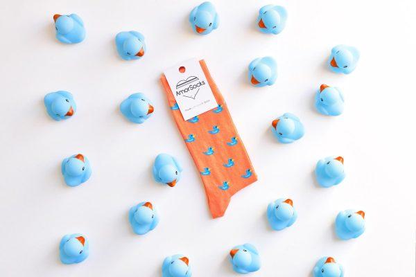 AmorSocks-calcetines-socks-patos-patitos-de-goma-ducks-rubber-ducks-coral-azul-blue