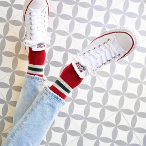 AmorSocks-calcetines-socks-retro-bajos-tobilleros-old-school-rojo-rayas-verde-gris-green-grey-red
