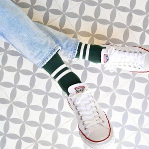 AmorSocks-calcetines-socks-retro-bajos-tobilleros-old-school-verde-botella-rayas-blancas-green-white