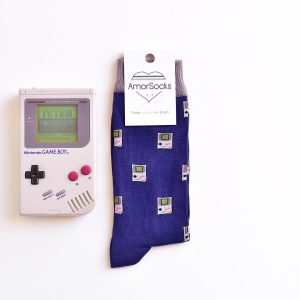 AmorSocks-calcetines-socks-video-game-game-boy-nintendo-nes-consola-retro-80s-90s-navy-azul-marino-blue
