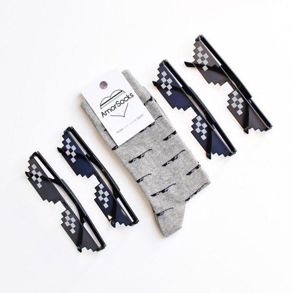 amorsocks-calcetines-socks-80s-sunglasses-gafas-de-sol-thug-life-gris-melange-grey