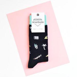 amorsocks-calcetines-socks-miami-palm-black-negro-verde-agua-palmeras-90s-geometricos-palm-beach-cuadrado