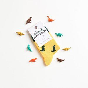 amorsocks-calcetines-socks-dinos-dinosaurios-trex-tiranoraurio-amarillo-yellow-niños-niñas-kids