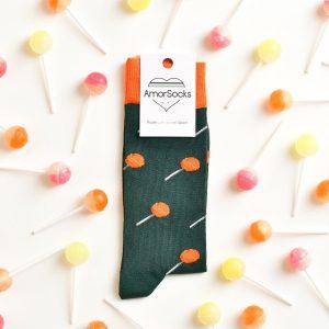 amorsocks-calcetines-socks-chupachus-chupachups-caramelos-naranja-orange-verde-green