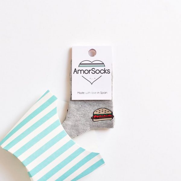 AmorSocks AmorBurger Grey Kids