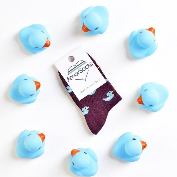 AmorSocks-calcetines-socks-kids-niños-patos-patitos-de-goma-ducks-rubber-ducks-burdeos-azul-blue-producto