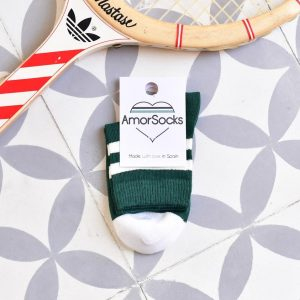 AmorSocks-calcetines-socks-retro-bajos-kids-niños-niñas-tobilleros-old-school-verde-botella-rayas-blancas-green-white