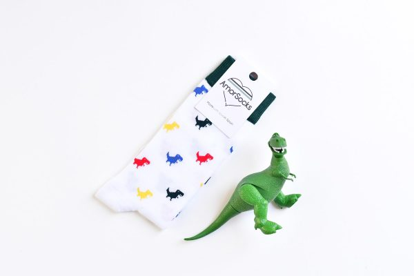 amorsocks-calcetines-socks-dinos-colores-color-colour-dinosaurios-trex-tiranoraurio-calcetin-blanco-verde-rojo-amarillo-azul-green-red