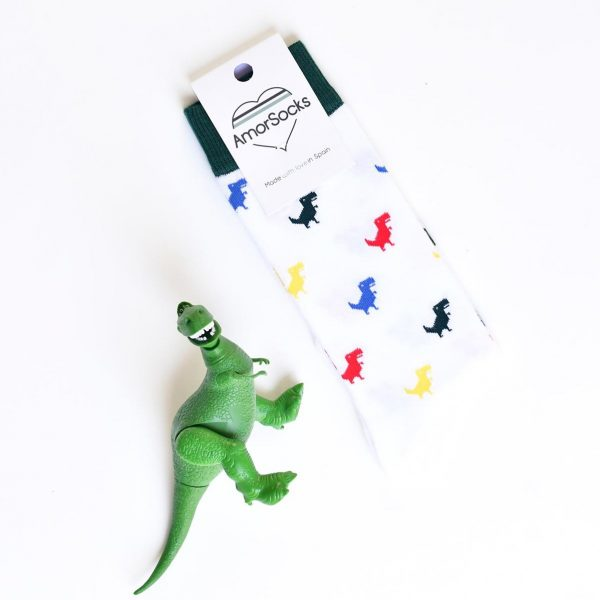 amorsocks-calcetines-socks-dinos-colores-color-colour-dinosaurios-trex-tiranoraurio-calcetin-blanco-verde-rojo-amarillo-azul-green-red-producto