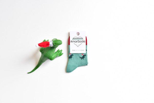 amorsocks-calcetines-socks-dinos-noel-navidad-christmas-dinosaurios-trex-tiranoraurio-verde-rojo-green-red-niños-niñas-kids-papa-noel