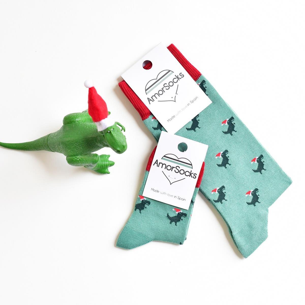 amorsocks-calcetines-socks-dinos-noel-navidad-christmas-dinosaurios-trex-tiranoraurio-verde-rojo-green-red-niños-niñas-kids-papa-noel-colección