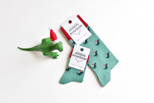 amorsocks-calcetines-socks-dinos-noel-navidad-christmas-dinosaurios-trex-tiranoraurio-verde-rojo-green-red-papa-noel
