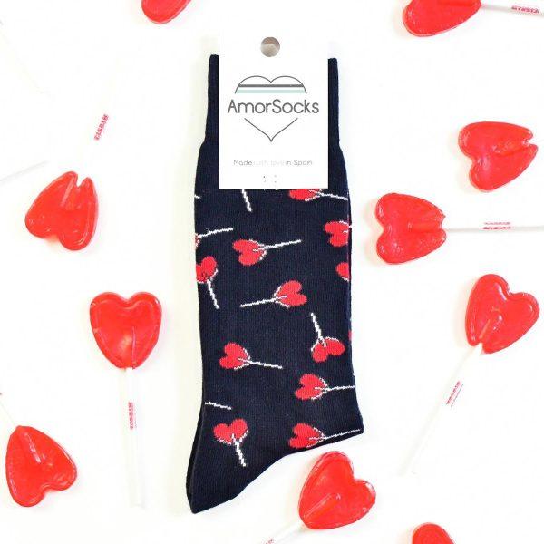 amorsocks-calcetines-socks-piruletas-navy-lollipops-caramelos-azul-marino-piruletas-rojas-cuadrado