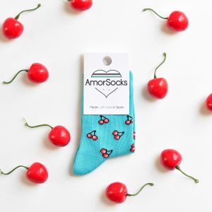 amorsocks-calcetines-divertidos-socks-kids-niños-niñas-cherry-turequesa-cerezas-turquoise-cerezas-rojas
