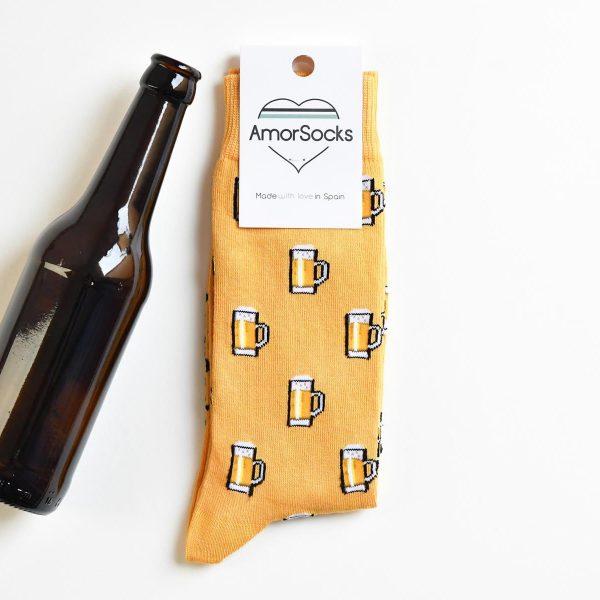 amorsocks-calcetines-socks-amorbeer-mostaza-beer-jarras-de-cerveza-Yellow