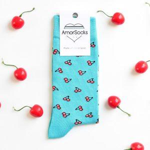 amorsocks-calcetines-socks-cherry-turequesa-cerezas-turquoise-cerezas-rojas