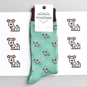 calcetines amorsocks perros perretes socks fondo verde green calcetin pack