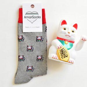 AmorSocks Lucky Cat Grey