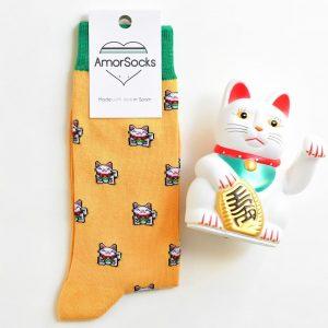 AmorSocks Lucky Cat Mostaza