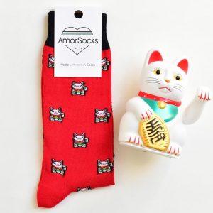 AmorSocks Lucky Cat Red